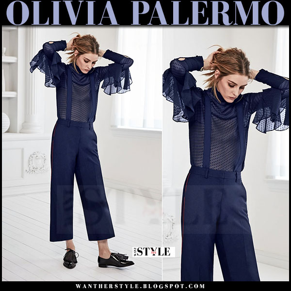 Olivia Palermo in blue sheer blouse and suspender pants chelsea28 new season campaign