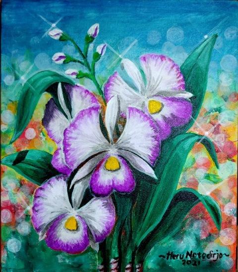 Koi dan Bunga Teratai Ungu - Acrylic on Canvas
