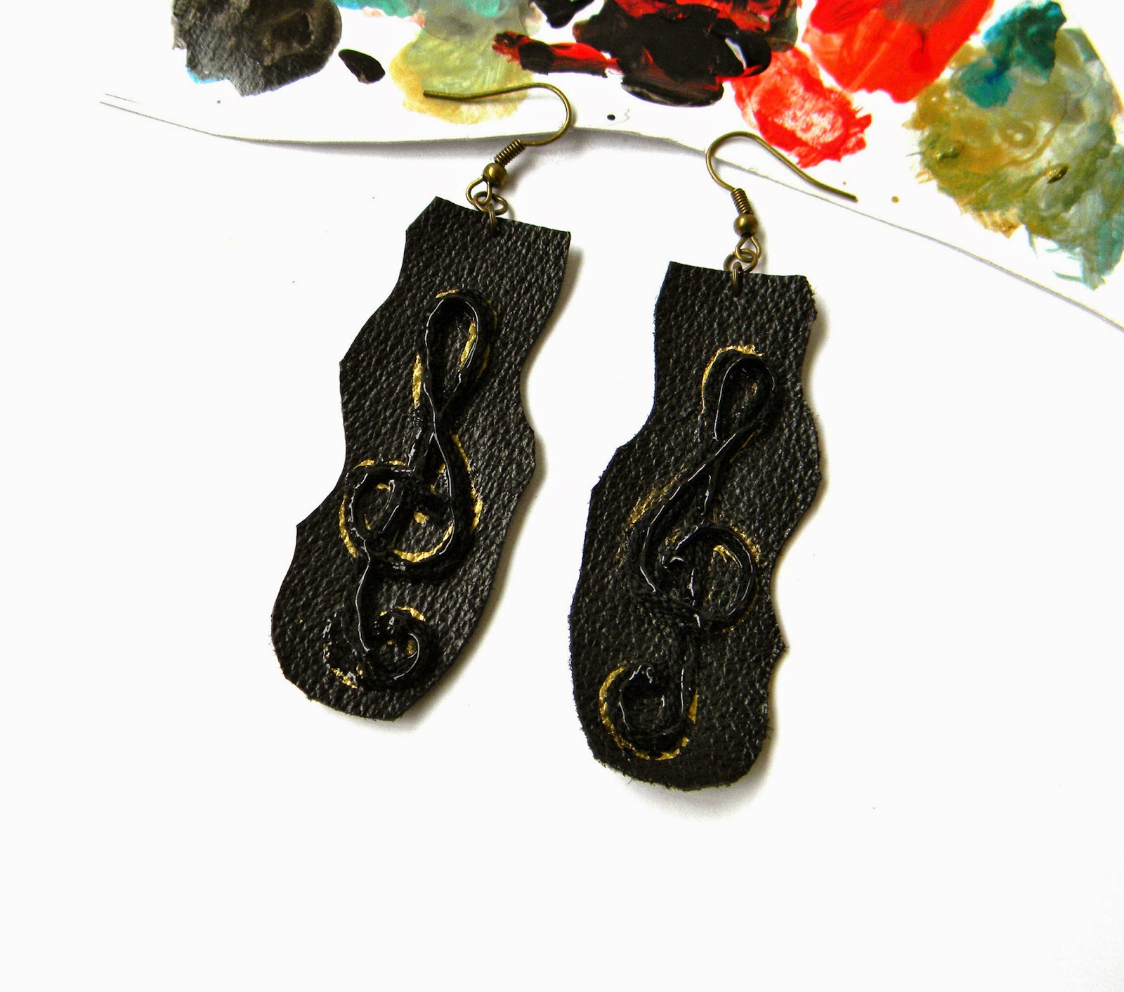 Leather Hand Painted Earrings with Sol Key and Cotton Strings