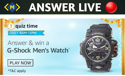 Amazon Quiz 29 October 2020 Answers - Win G-Shock Men's Watch - Money Quiz
