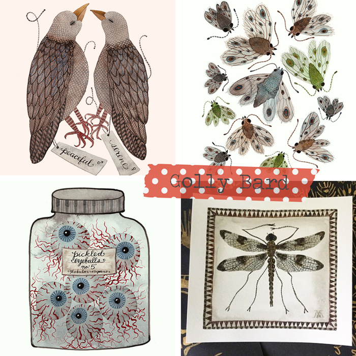 Watercolor artist painter Holly Ward Bimba, dip and ink lettering, nature, birds, insects