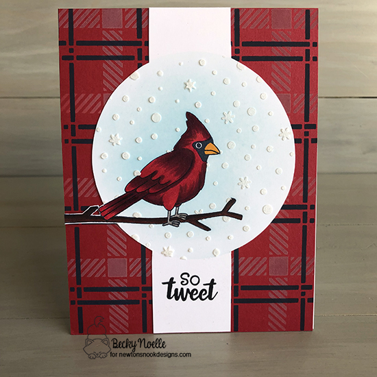 So tweet by Becky features Winter Birds, Plaid, and Petite stencil by Newton's Nook Designs; #newtonsnook