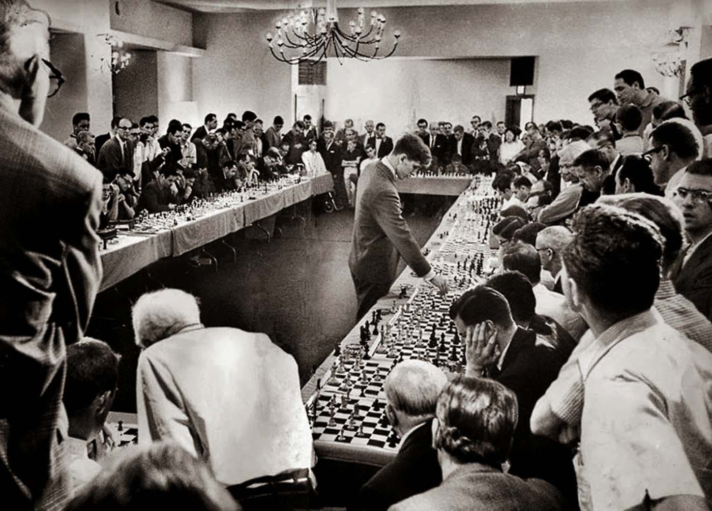 Bobby Fischer playing 50 opponents simultaneously, 1964.
