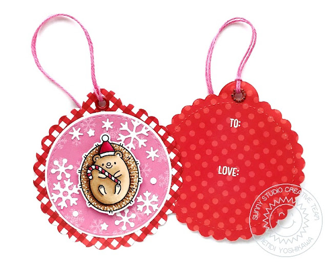 Sunny Studio Hedgehog Christmas Gift Tags (using Hedgey Holidays Stamps, Holiday Cheer Paper, Scalloped Circle Tag & Snowflake Circle Frame Dies)