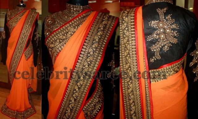 Border Work Butti Heavy Saree Red Bridal