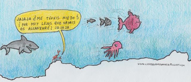 viñeta cómica de un cangrejo que cree que los peces escapan de él cuando en realidad escapan de un tiburón