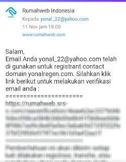 pemberitahuan via email untuk verifikasi data