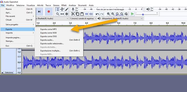 esportazione audio con audacity