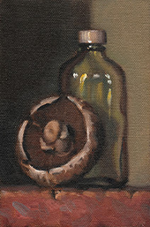 Still life oil painting of a brown mushroom beside a small sample bottle.