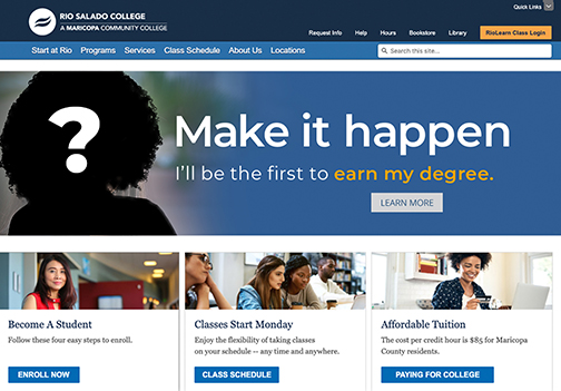 "Snapshot of Rio Salado web page and a ""Make it Happen ad, with a black silhouette of a student with a question mark"