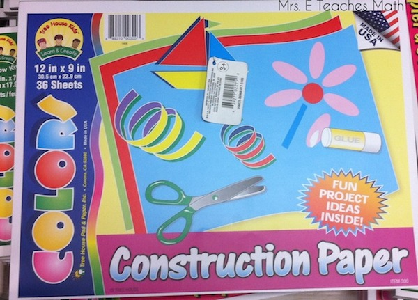 Dollar Store Finds for the Classroom - Construction Paper  |  mrseteachesmath.blogspot.com