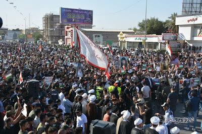 التيار الصدري في البصرة ينظم تظاهرة كبرى تأييدا لقطاع غزة