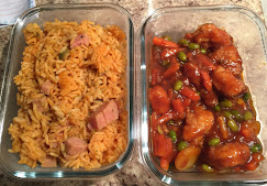 Rice with Spam and Chicken with Sauce