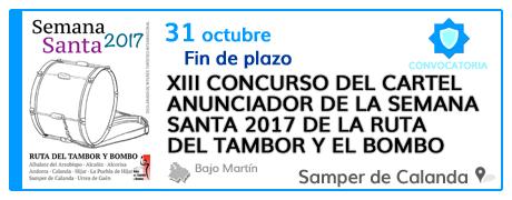 XIII Concurso del cartel anunciador de la Semana Santa 2017 de la Ruta del Tambor y el Bombo