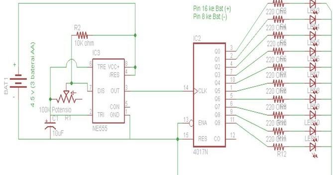 Praktek: LED BERJALAN Dengan IC 4017
