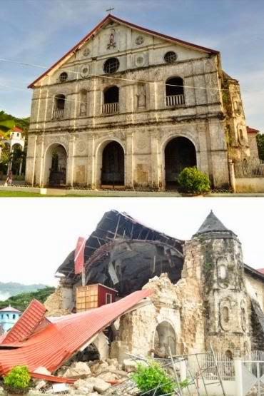 Loboc Church before and after the 2013 Earthquake