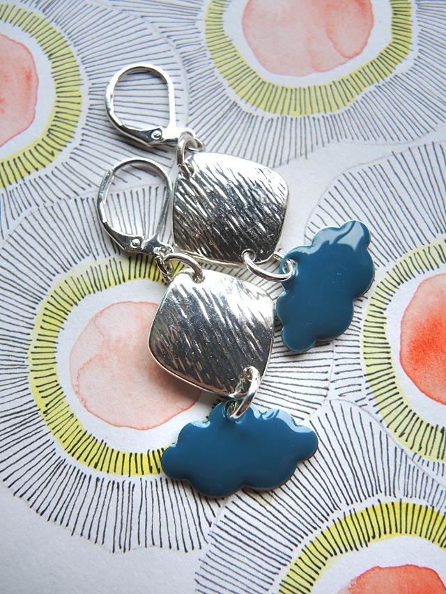 """DIY oorbellen/earrings """"wolkjes/clouds"""""""