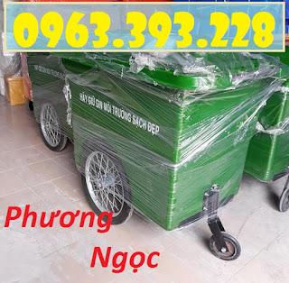 Xe gom rác nhựa 3 bánh xe 660L, xe đẩy rác công nghiệp, thùng rác 660L 66591385_1435973106550025_6720176641894514688_n