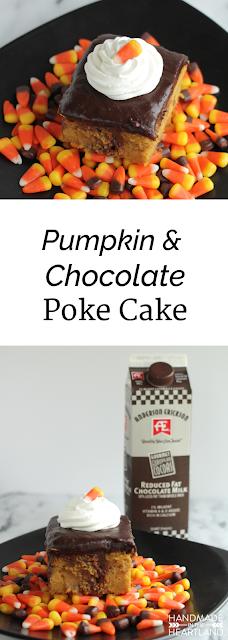 Pumpkin & Chocolate Poke Cake with #AEDairy