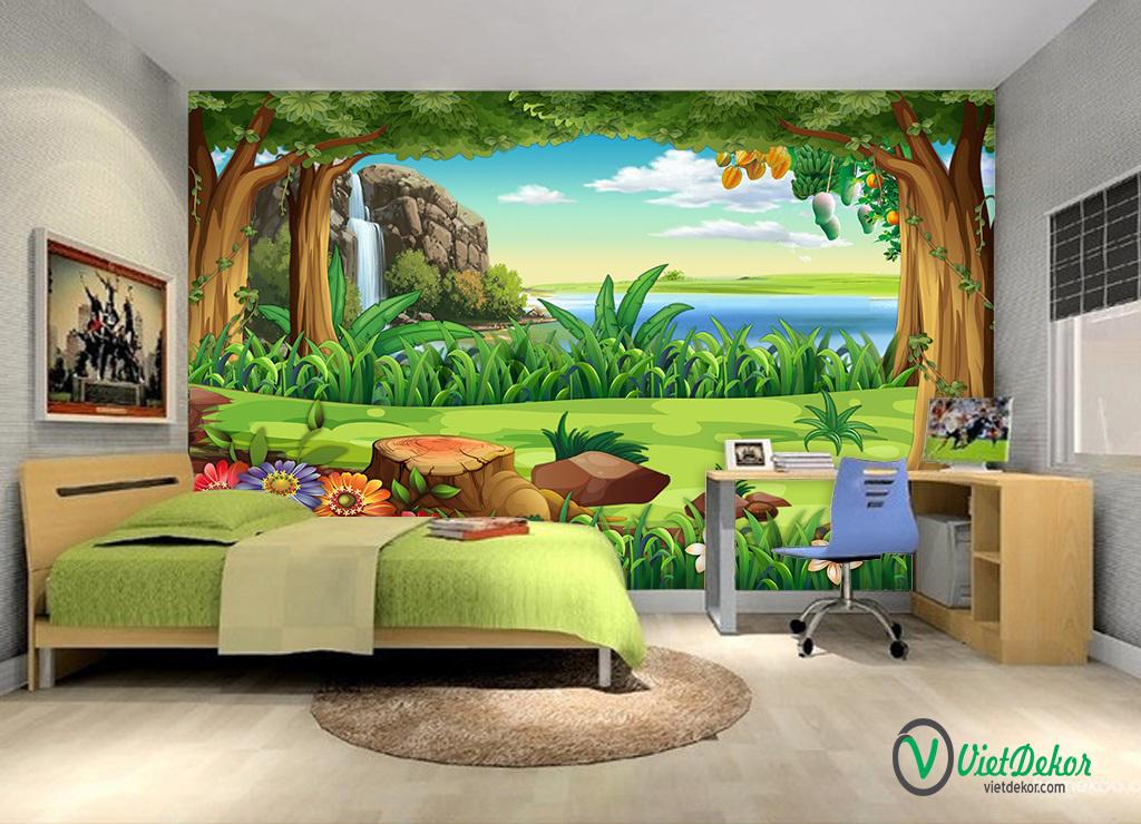 Tranh dán tường 3d phong cảnh vườn cổ tích cho bé