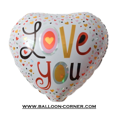 Balon Foil Hati Motif Confetti Love