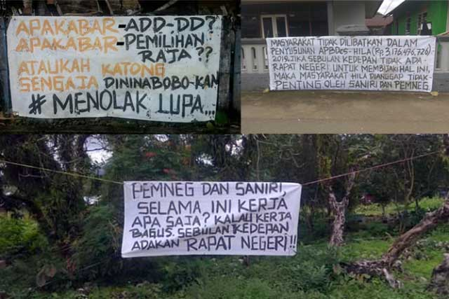"""Ambon, Malukupost.com - Masyarakat Negeri Hila, Kecamatan Leihitu, Kabupaten Maluku Tengah dikejutkan oleh terbentangnya tiga spanduk di depan Masjid Raya,  Jalan Raya Ulihalawang dan area Tempat Pemakaman Umum. Berdasarkan data yang dihimpun, dipastikan spanduk berwarna putih tersebut dipasang oleh Orang Tak Dikenal (OTK) pada Senin (8/7) tengah malam.     Ketiga spanduk tersebut bertuliskan """"Apa kabar ADD-DD ? Apa kabar pemilihan raja? Ataukah katong sengaja dininabobo-kan. Menolak lupa.  Pemneg dan Saniri selama ini kerja apa saja, kalau kerja bagus sebulan kedepan adakan rapat negeri. Masyarakat tidak dilibatkan dalam penyusunan APB-Des Hila (Rp 3.176.476.726) 2019, jika sebulan kedepan tidak ada rapat negeri untuk membijaki hal ini, maka masyarakat Hila dianggap tidak penting oleh Saniri dan Pemneg"""".      Salah satu warga Hila, Rachmat Launuru diminta tanggapannya mengatakan, pemasangan spanduk merupakan bentuk kekesalan warga terhadap kinerja pimpinan mantan Raja Hila Abdurahim Ollong, Pjs Sigit Sanduan hingga Pjs Hila saat ini, Abdul Latif Anjarang."""