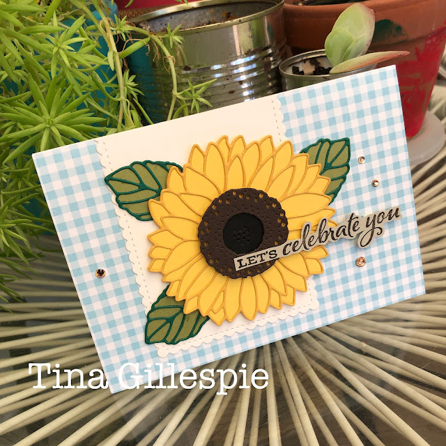 scissorspapercard, Stampin' Up!, Creative Showcase, Celebrate Sunflowers, Sunflowers Dies, Stitched So Sweetly Dies, Subtles DSP