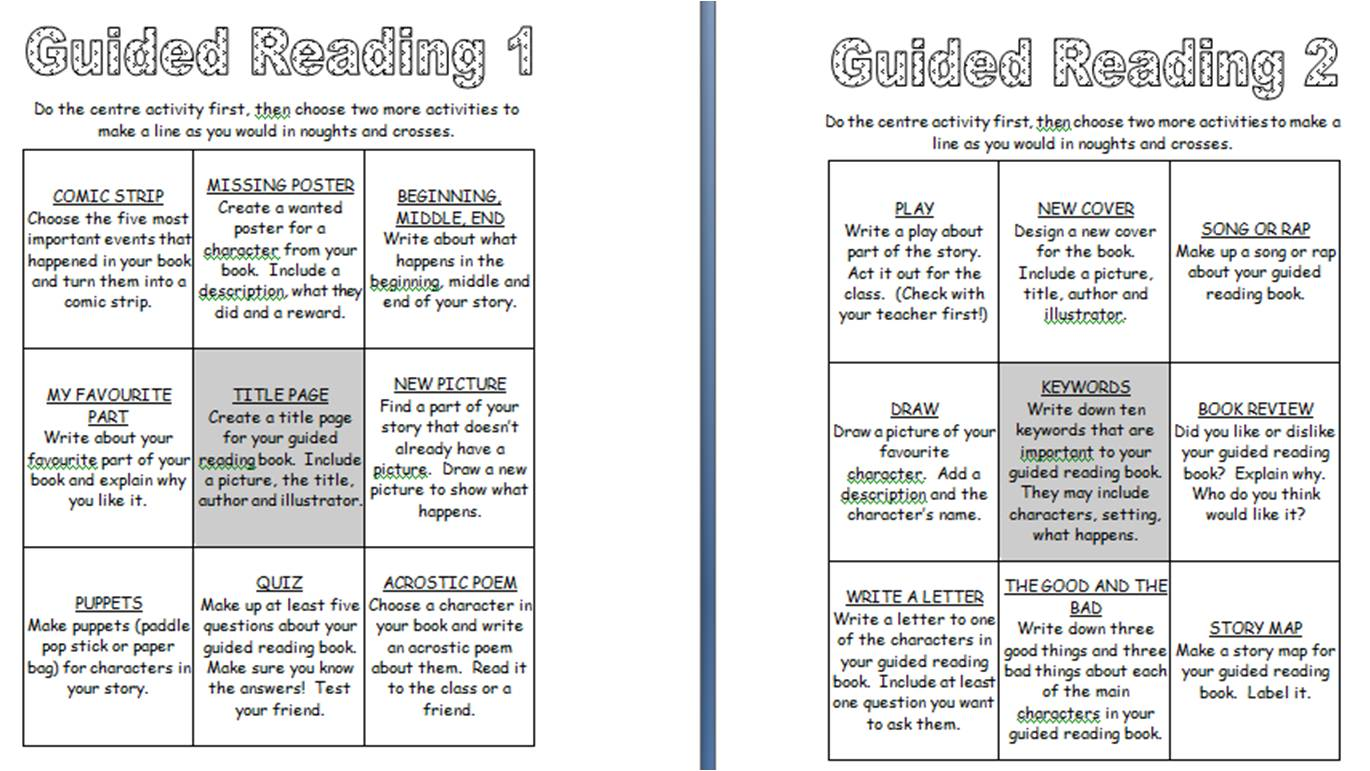 Book Report Ideas Guided Reading Menu