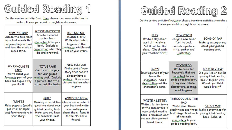 Book Report Ideas Guided Reading Menu