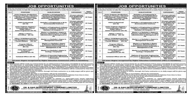 Oil & Gas Company Limited OGDCL Jobs 2020 For Junior Engineer, Admin Officer, Communication Officer & more
