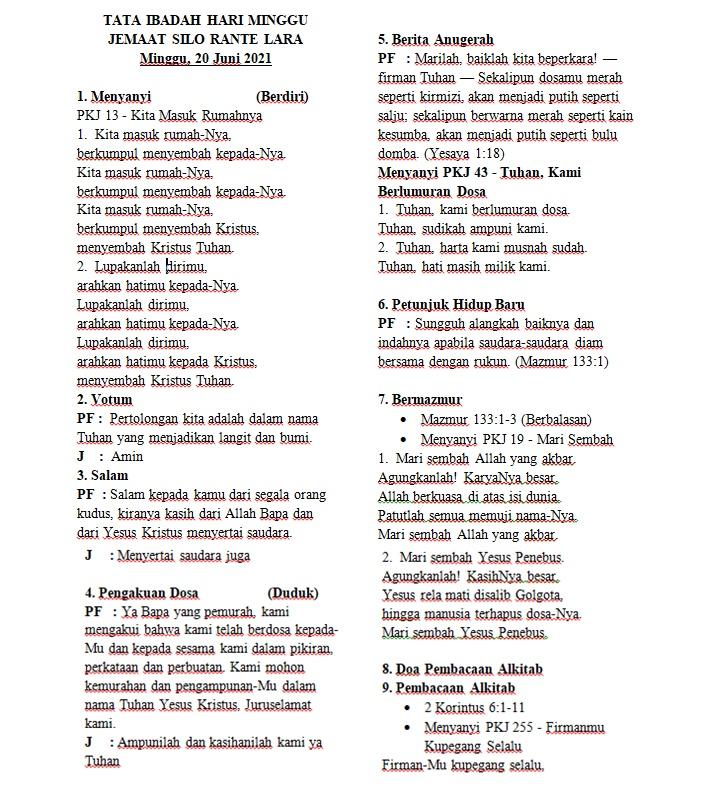 Contoh Liturgi Ibadah Hari Minggu Gereja Toraja