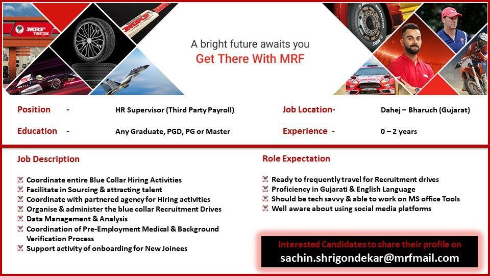 Any Graduate, PGD, PG or Master Jobs Vacancy In MRF Ltd, Dahej, Gujarat For Position HR Supervisor