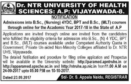 NTRHU Bsc Nursing Admission Notification 2017-18