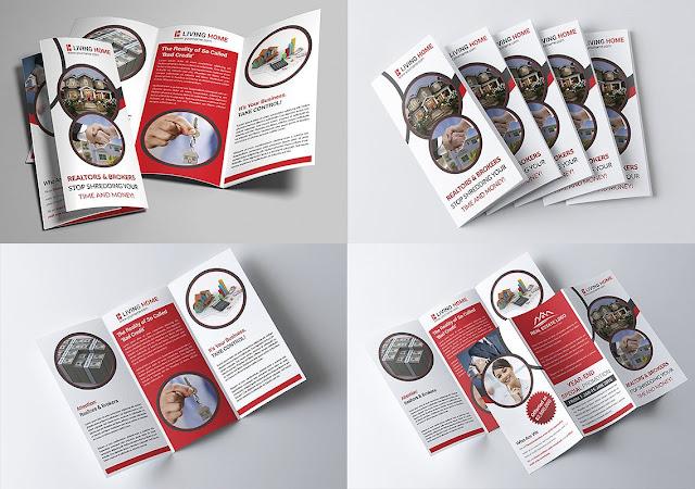 تصميم بروشور مفتوح psd جاهز للتعديل تصميم عقارى تجارى 4