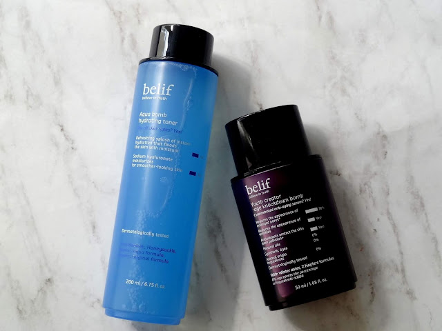 belif Aqua Bomb Hydrating Toner and Youth Creator-Age Knockdown Bomb