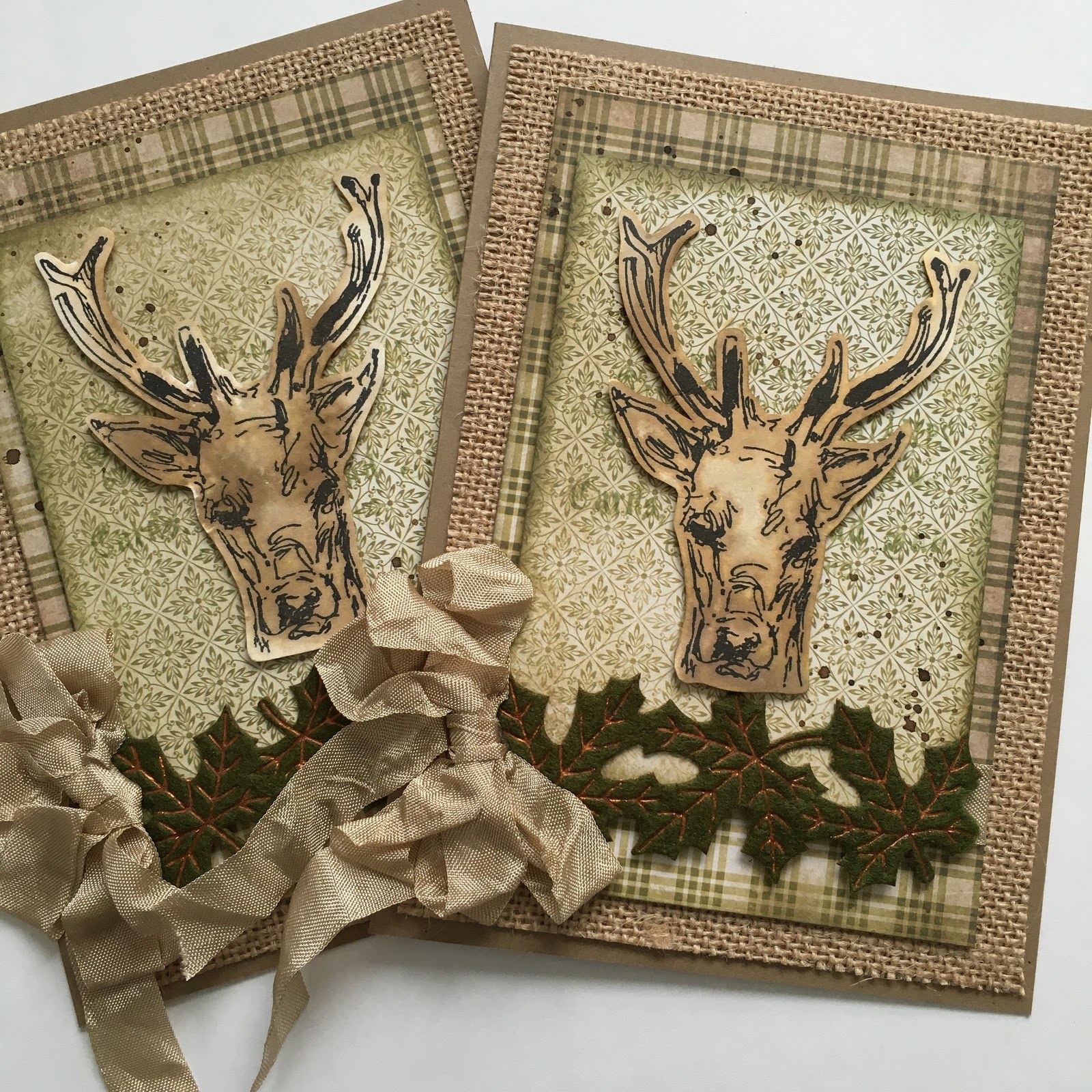 sewpaperpaint oh deer fall woodland cards with tim holtz