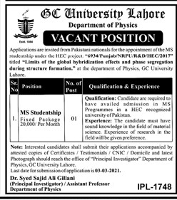 GC University Jobs 2021 -  GC University Lahore Jobs 2021 - Government College GC University Lahore Jobs 2021 - MS Studentship Jobs 2021
