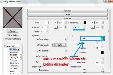Cara Setting Material Air Realistis di Vray Sketchup