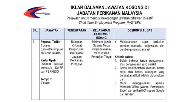jabatan perikanan malaysia jobs