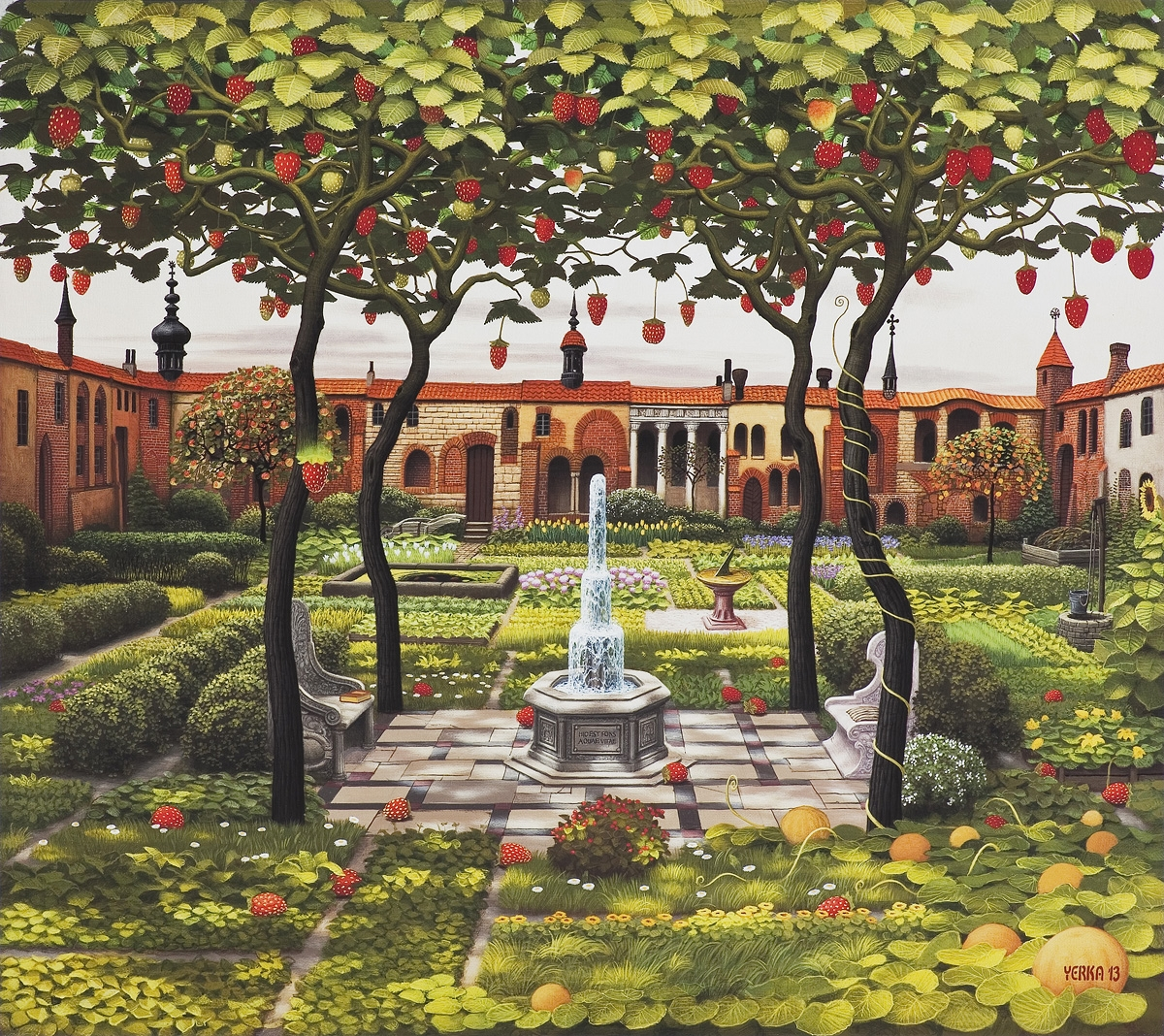 07-Strawberry-Patio-Jacek-Yerka-Surrealism-in-Dreamlike-Oil-Paintings-www-designstack-co