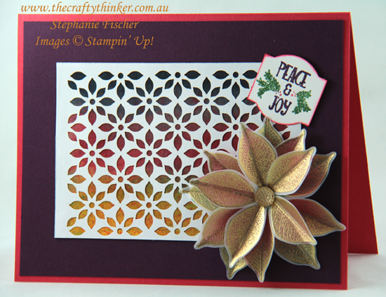 #thecraftythinker  #staminup  #rootedinnature  #brusho  #christmascard  #cardmaking , Brusho, Rooted In Nature Bundle, Delightfully Detailed Laser Cut paper, Stampin' Up Australia Demonstrator, Stephanie Fischer, Sydney NSW