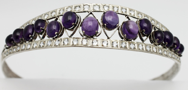 Vintage Headband Amethyst Cabachons Silver Metal. Via Diamonds in the Library.
