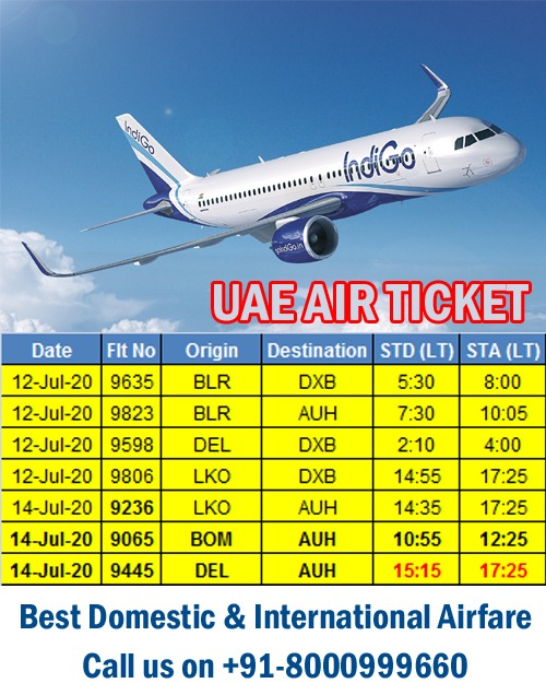 FLY TO/FROM UAE & INDIA - INDIGO AIRLINES - AVAILABLE NOW