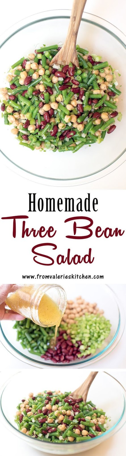 This fresh Homemade Three Bean Salad is so much tastier than the store bought variety. The dressing gives it a sweet, vinegary bite that is irresistibly good.