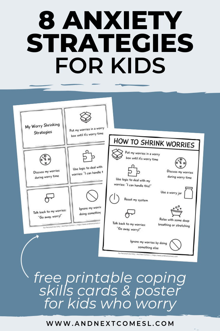 Anxiety coping skills cards for kids - autism teaching strategies worry cards