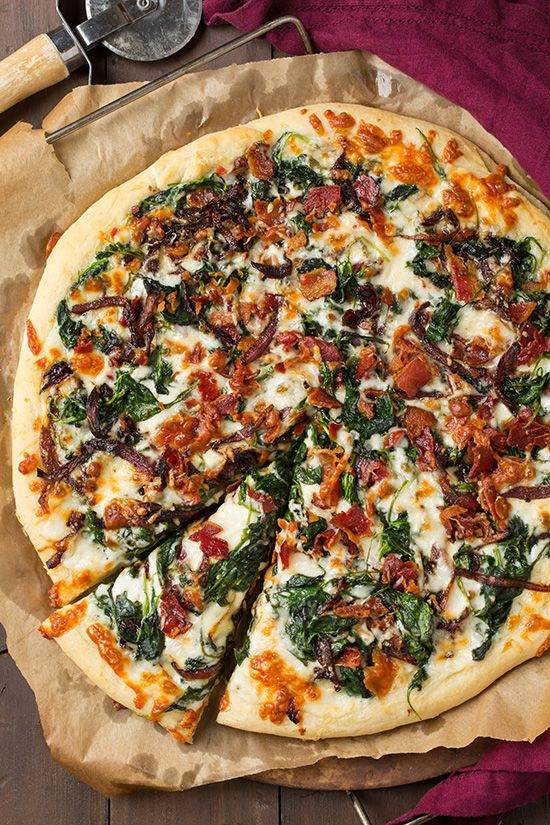 Caramelized Onion, Bacon and Spinach Pizza #recipes #pizza #pizzarecipe #food #foodporn #healthy #yummy #instafood #foodie #delicious #dinner #breakfast #dessert #lunch #vegan #cake #eatclean #homemade #diet #healthyfood #cleaneating #foodstagram