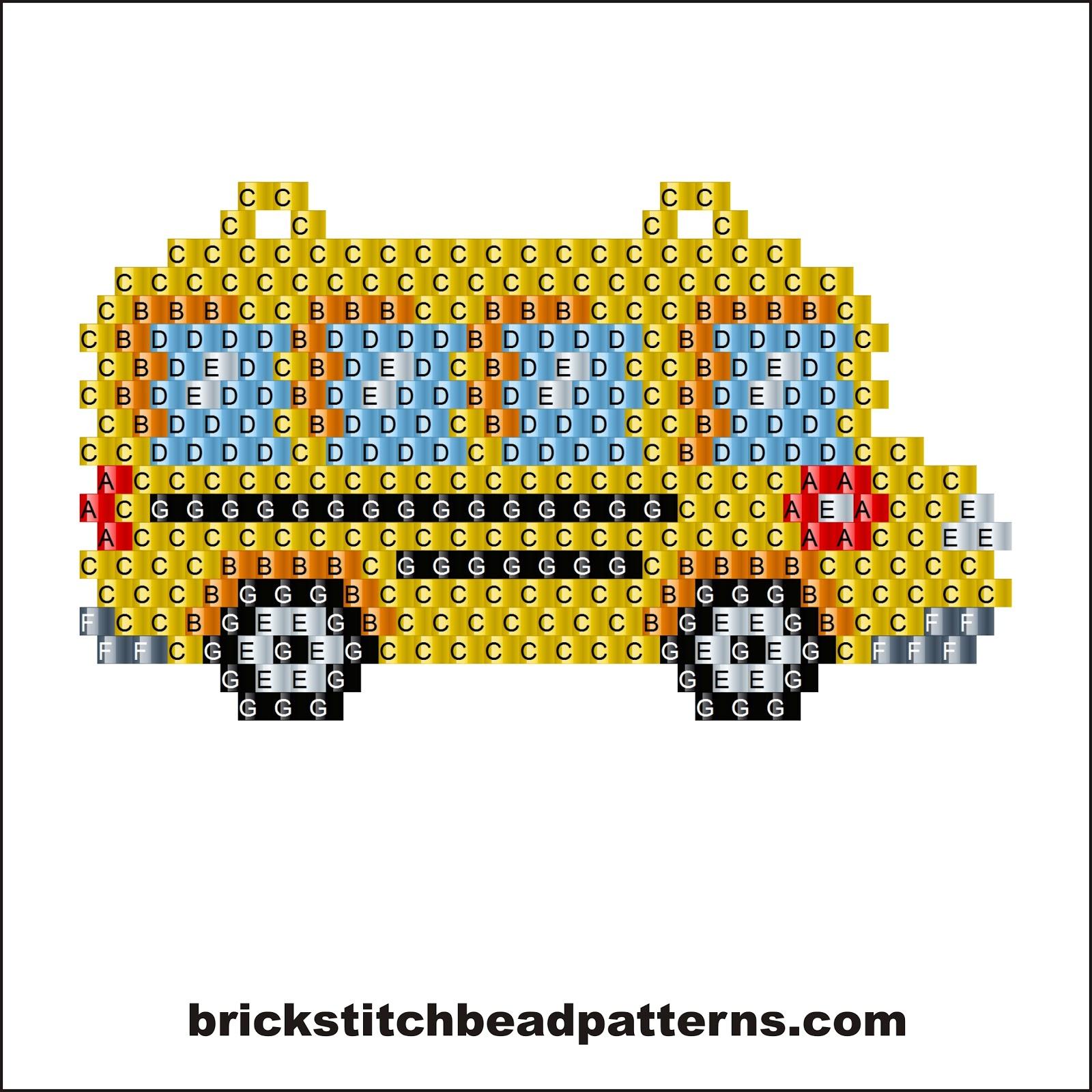 Brick Stitch Bead Patterns Journal: School Bus Earring or ...