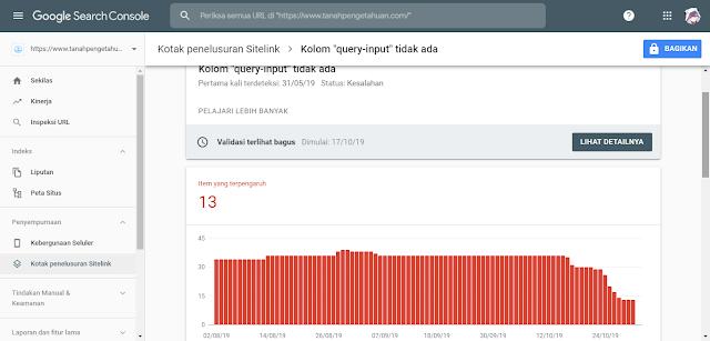 Mengatasi Error kolom 'query-input' tidak ada pada Google Search Console