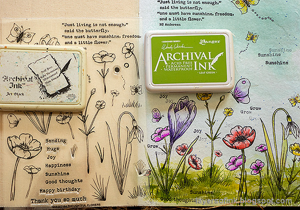 Layers of ink - Thoughtful Flowers Watercolor Garden Tutorial by Anna-Karin Evaldsson. Stamp the grass.