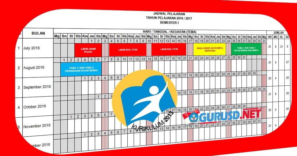 Jadwal Pelajaran Kurikulum 2013 Sekolah Dasar Tahun 2016 2017 Kurikulum